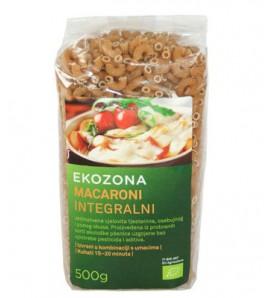 Ekozona Makaroni intergralni 500g, organsko, vegan
